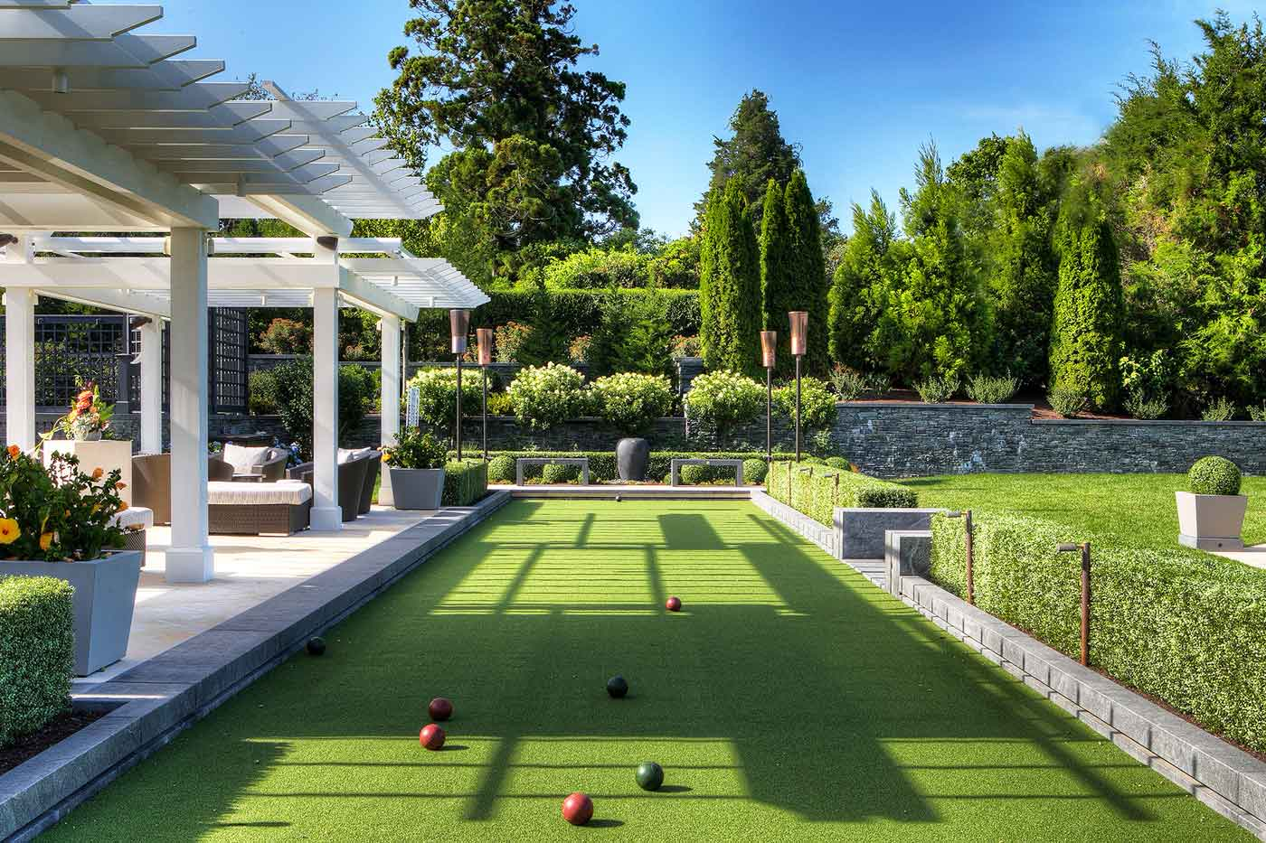 Bocce ball court designed by Katherine Field and Associates