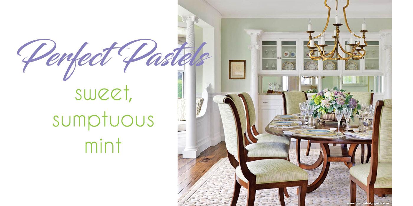 Pastel green dining room by Kotzen Interiors