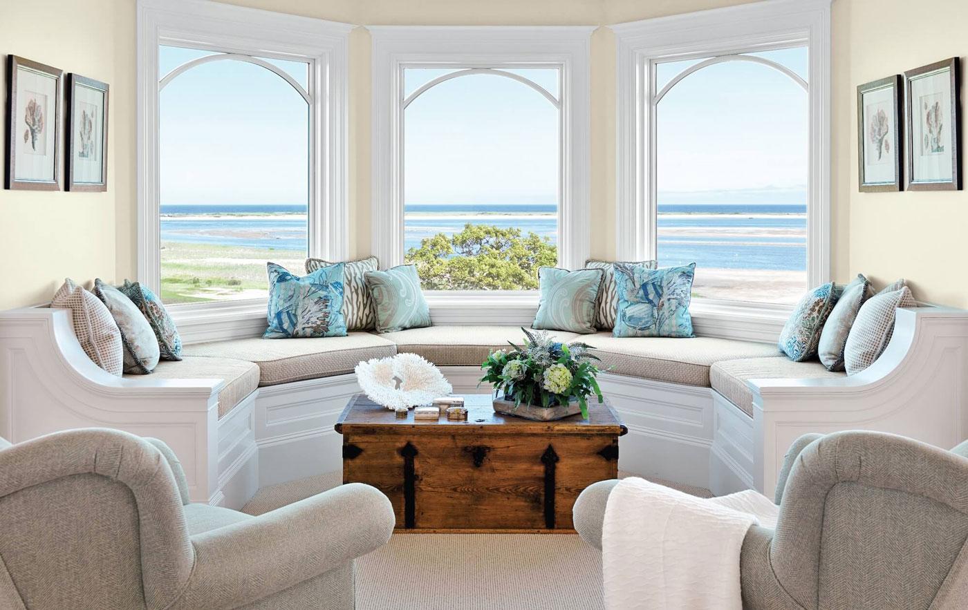 Built in window seat along bay window overlooking the water