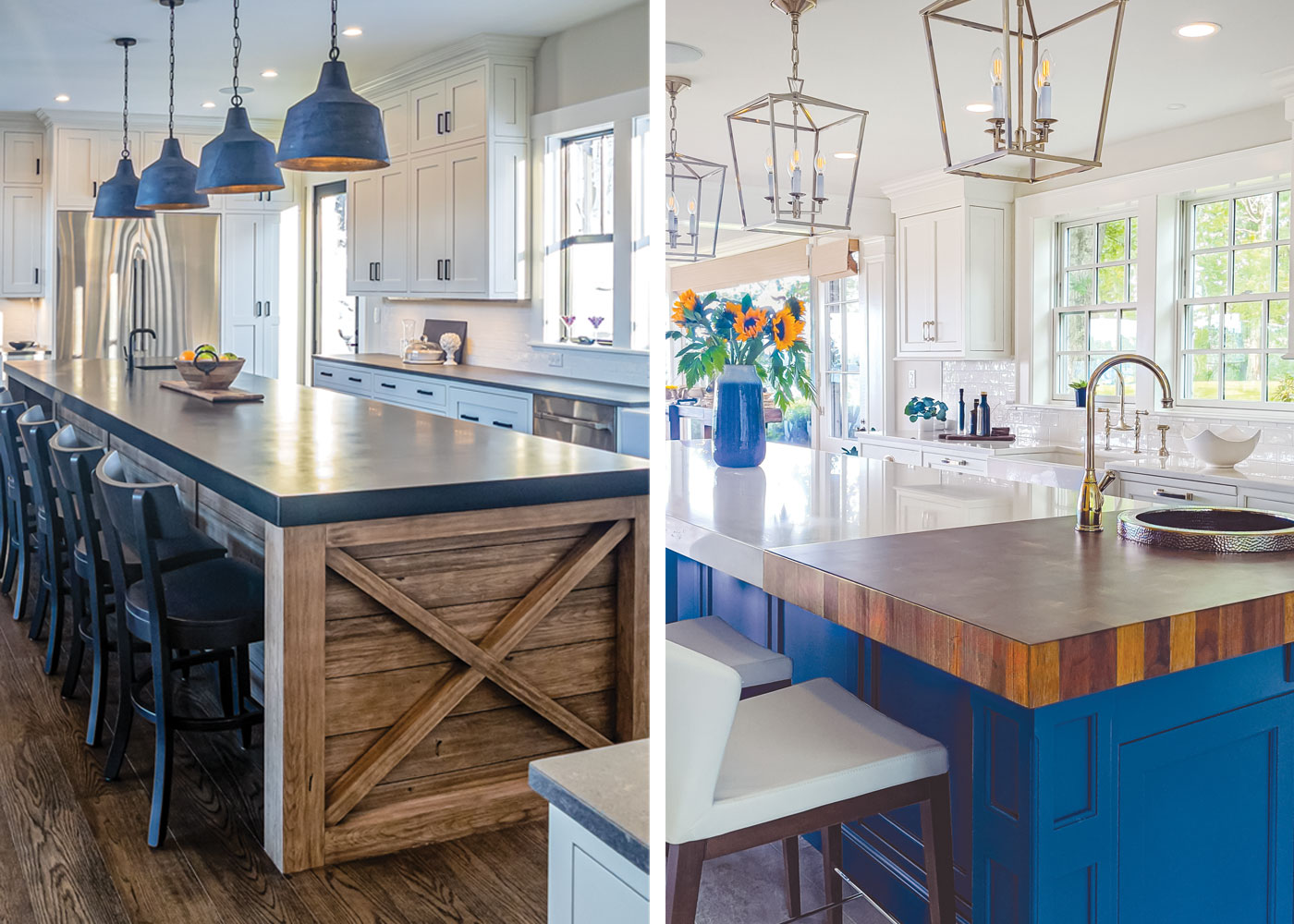 2 newly designed kitchens side by side with big islands and featuring a lot of blue and white in the cabinets and countertops