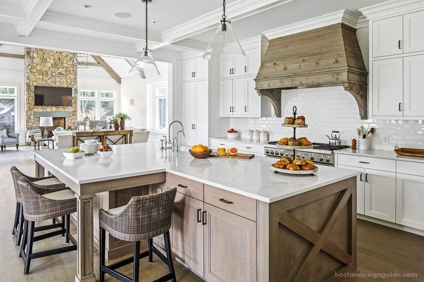 Farmhouse-style kitchen for a classic New England home