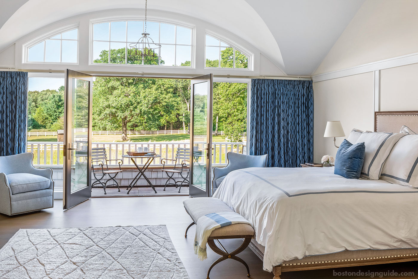 Master bedroom with French doors overlooking the pasture