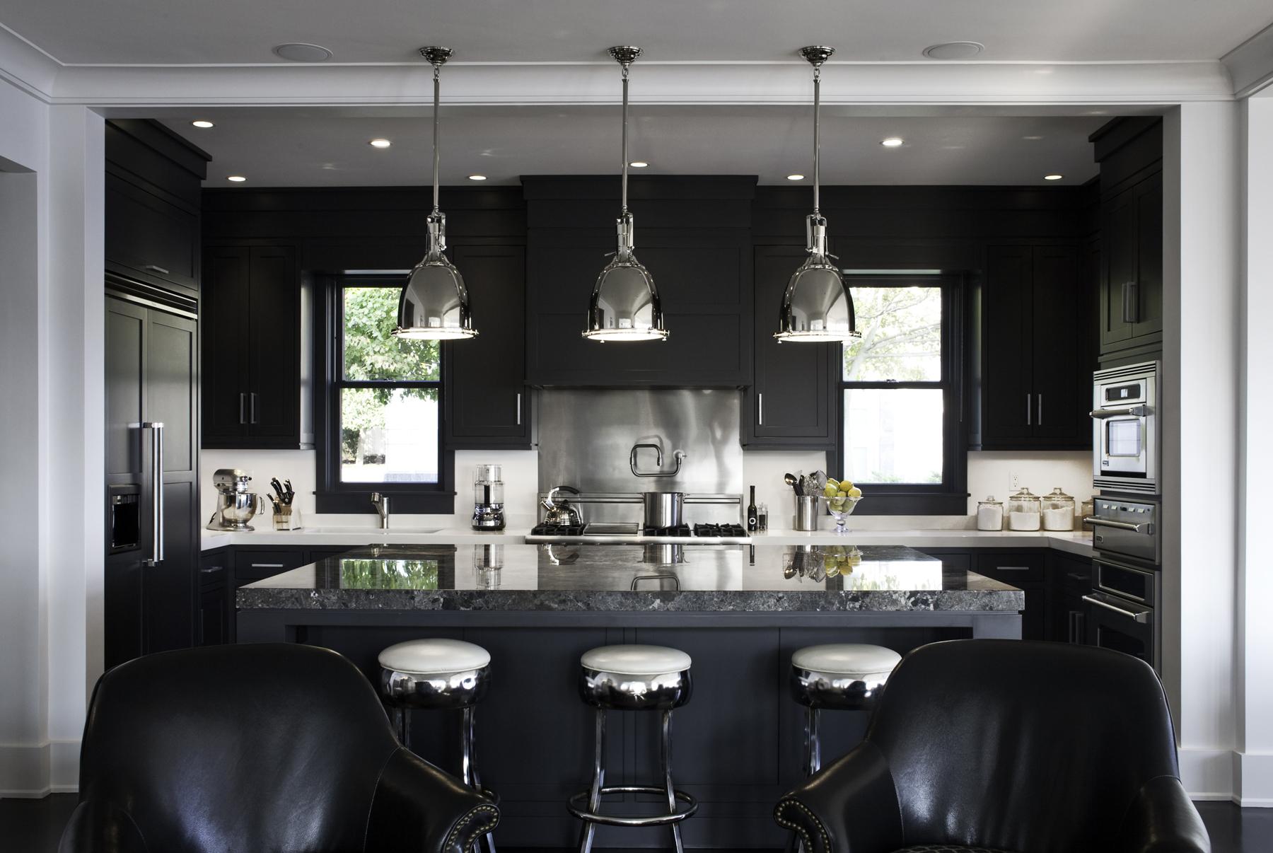 high end interior design metallic kitchen design