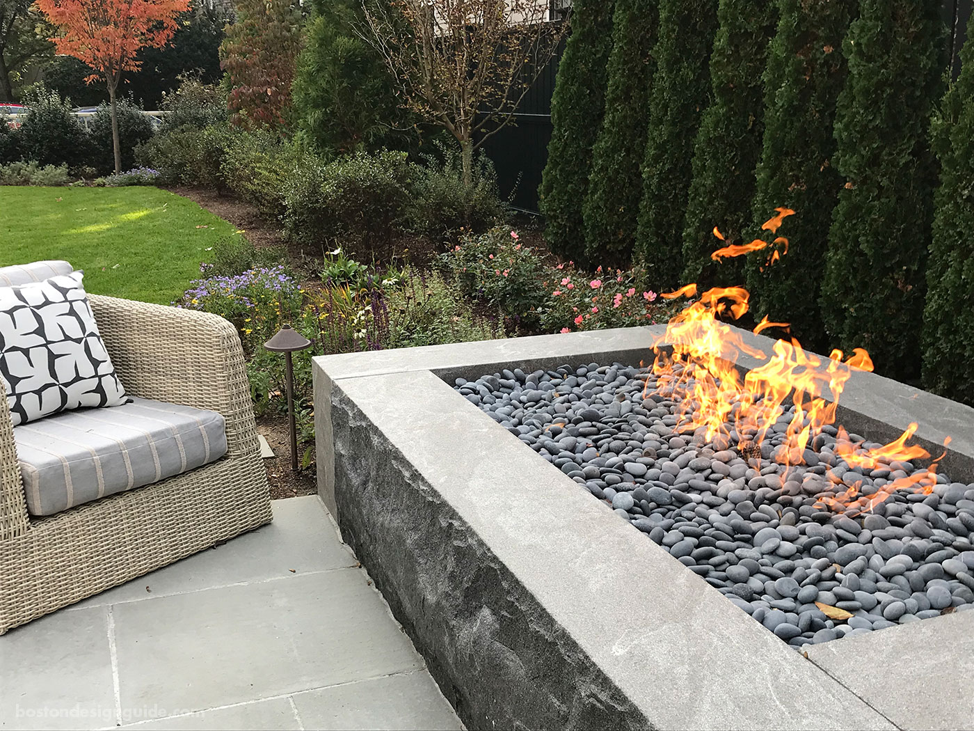 Custom fireplace designed by Gregory Lombardi Design and constructed by Landscape Creations