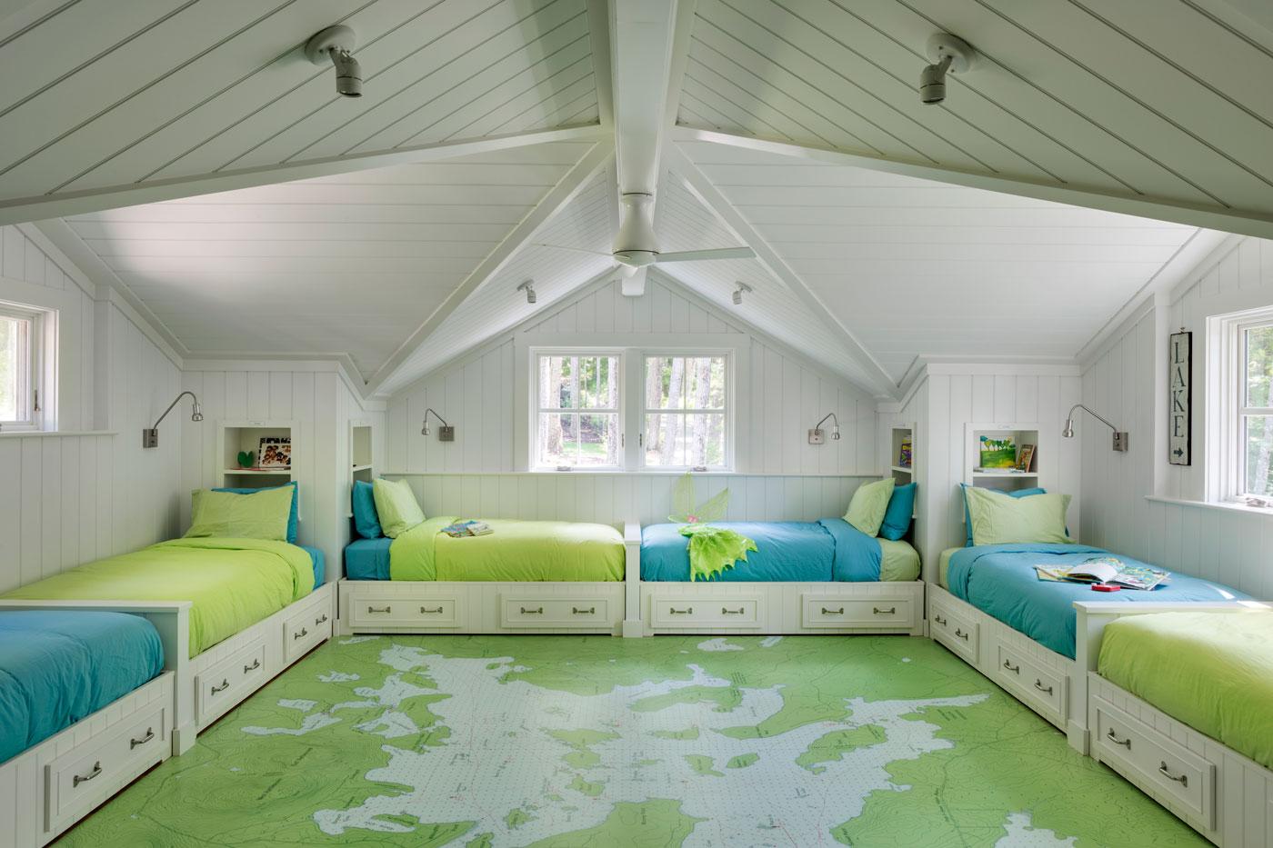 Colorul custom bunkroom designed by LDa Architecture & Interiors