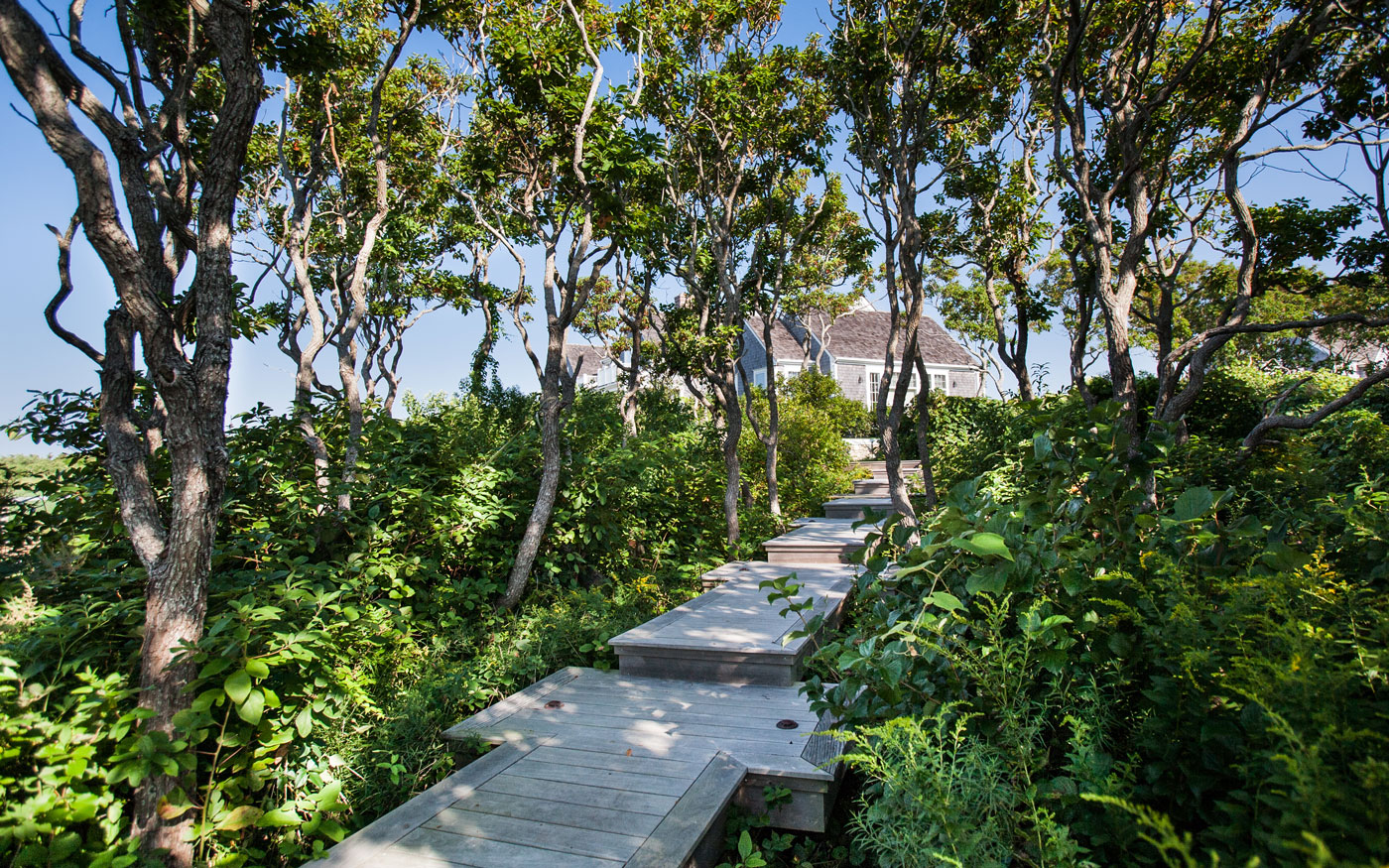 Custom boardwalk designed by Leblanc Jones Landscape Architects