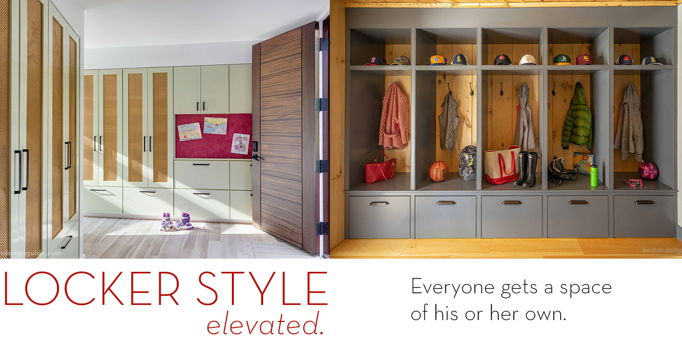 Examples of custom Locker Style New England mudrooms