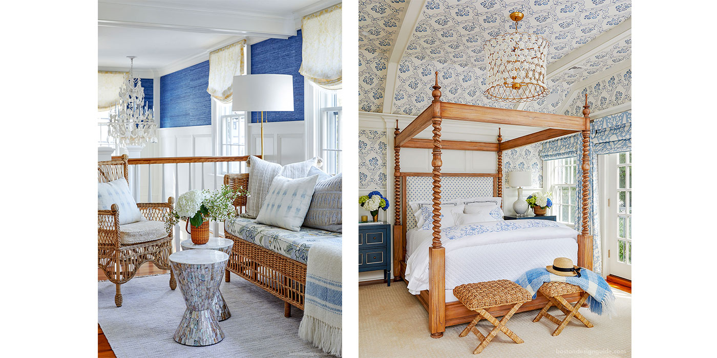 Nantucket loft and coastal master bedroom interior design by Donna Elle Design