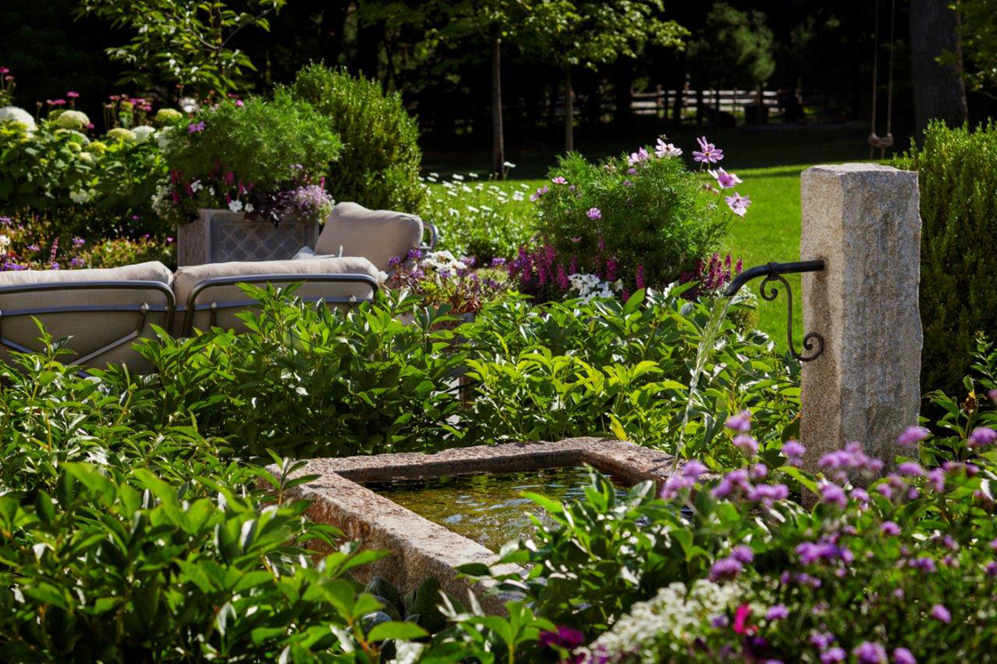 Landscape design with fountain by Gregory Lombardi Design and R.P. Marzilli & Co.