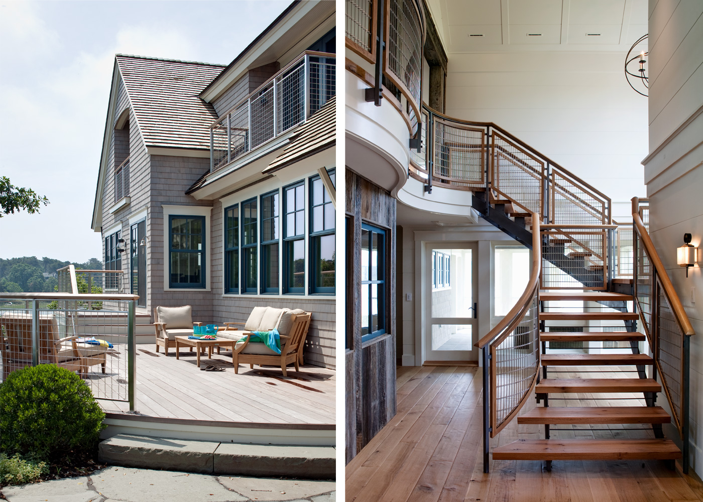 image of a cape cod deck and custom designed stairway