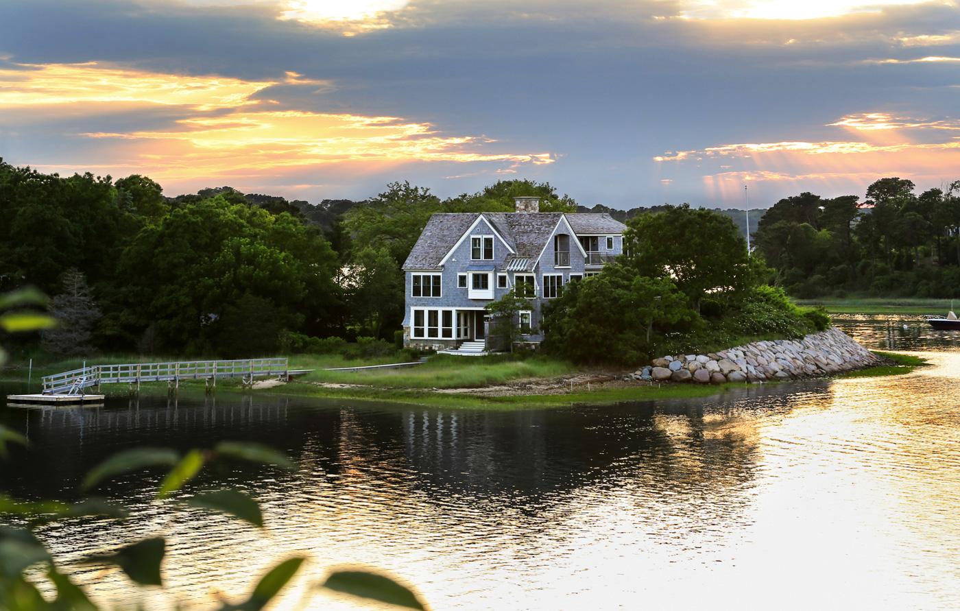 Custom home along the water