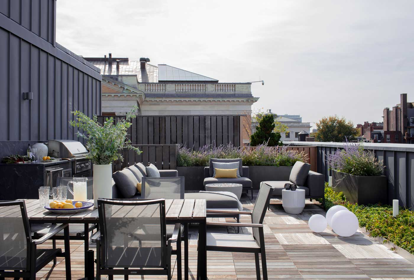 Rooftop deck dining area