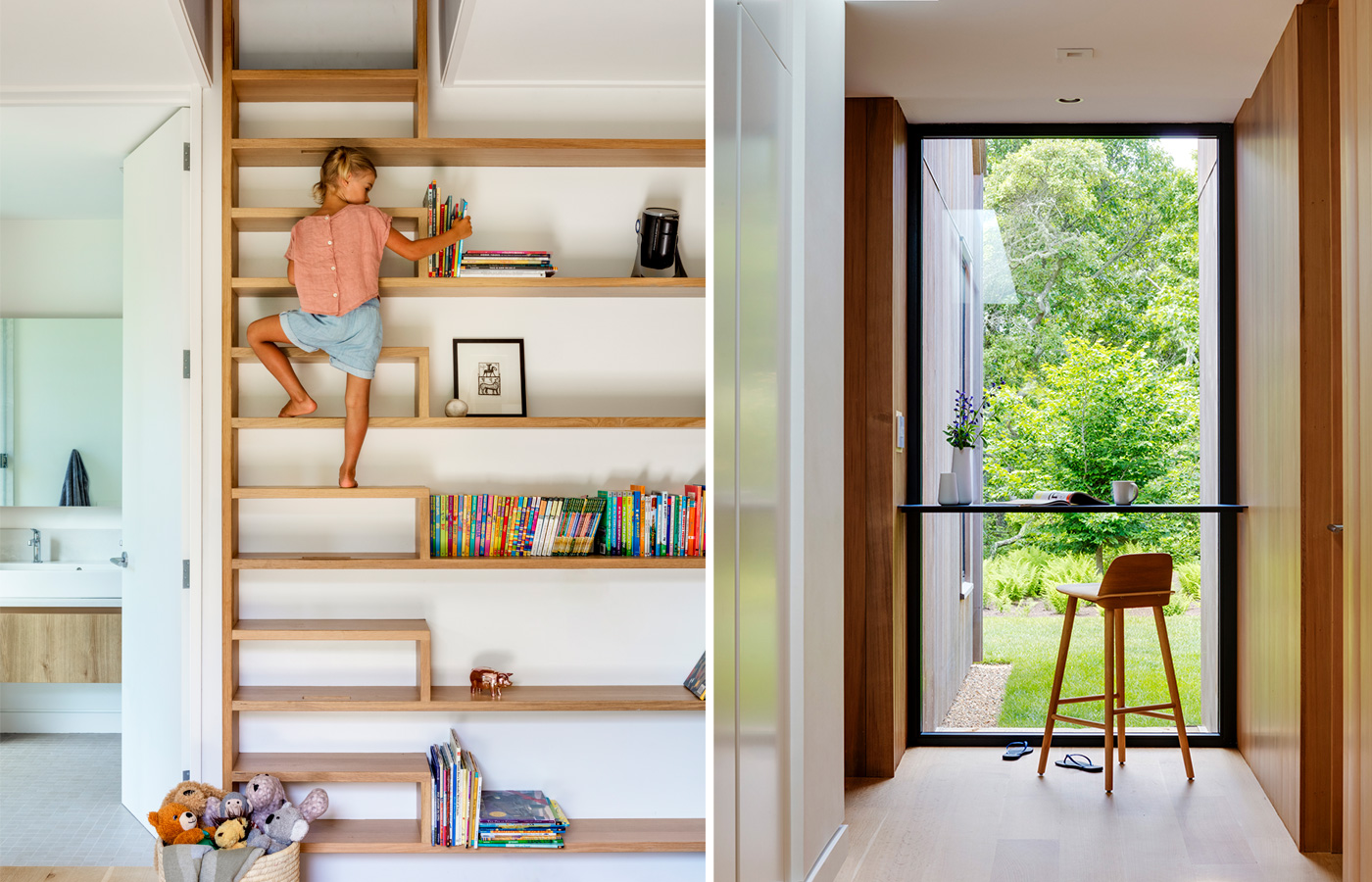 little girl climbing on bookcase and chair overlooking a full length window