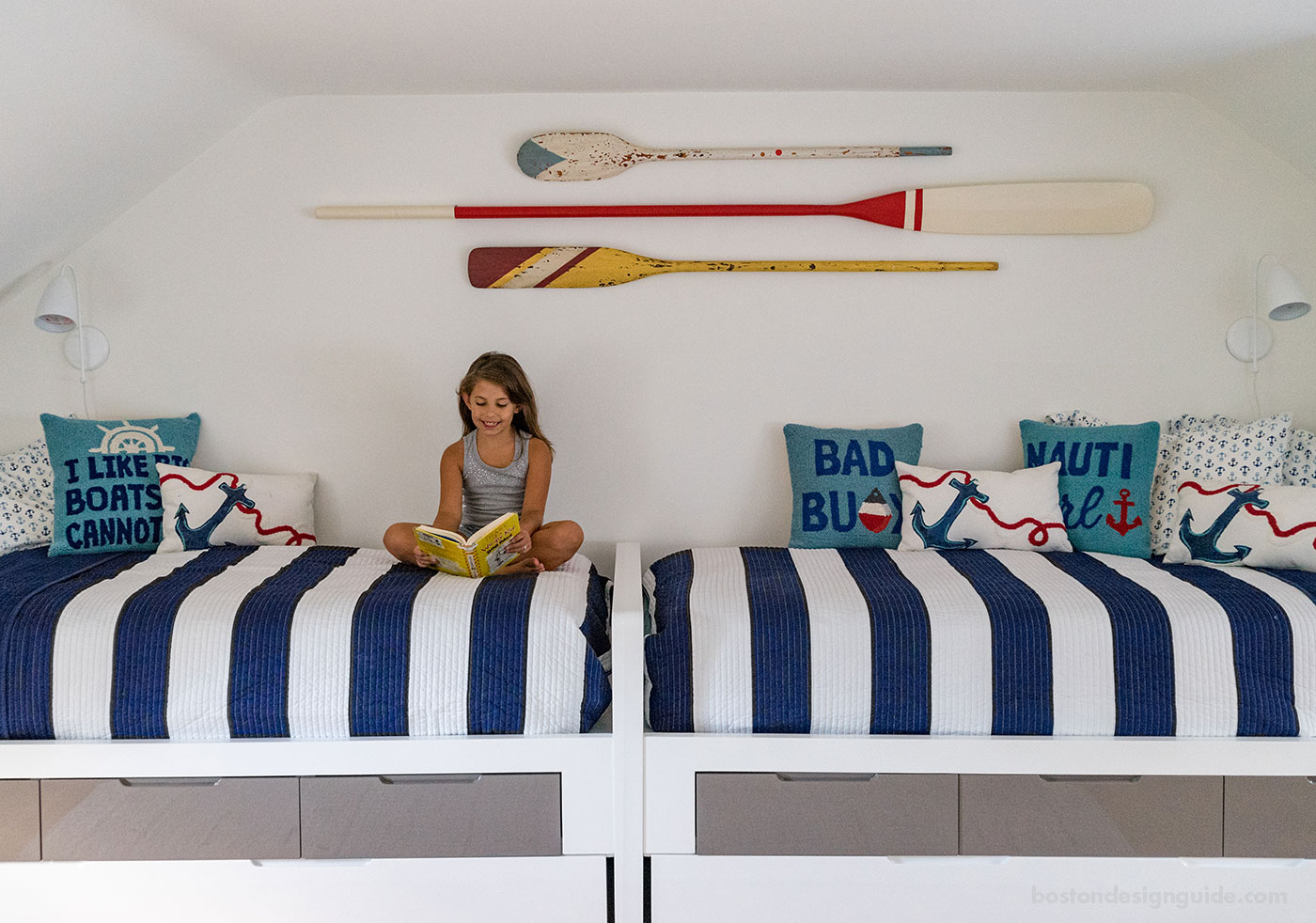 Nautical blue and white children's room designed by Martha's Vineyard Interior Design, architecture by Hutker Architects