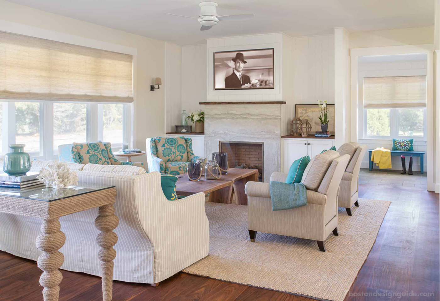 Coastal living room with rope accents by Martha's Vineyard Interior Design
