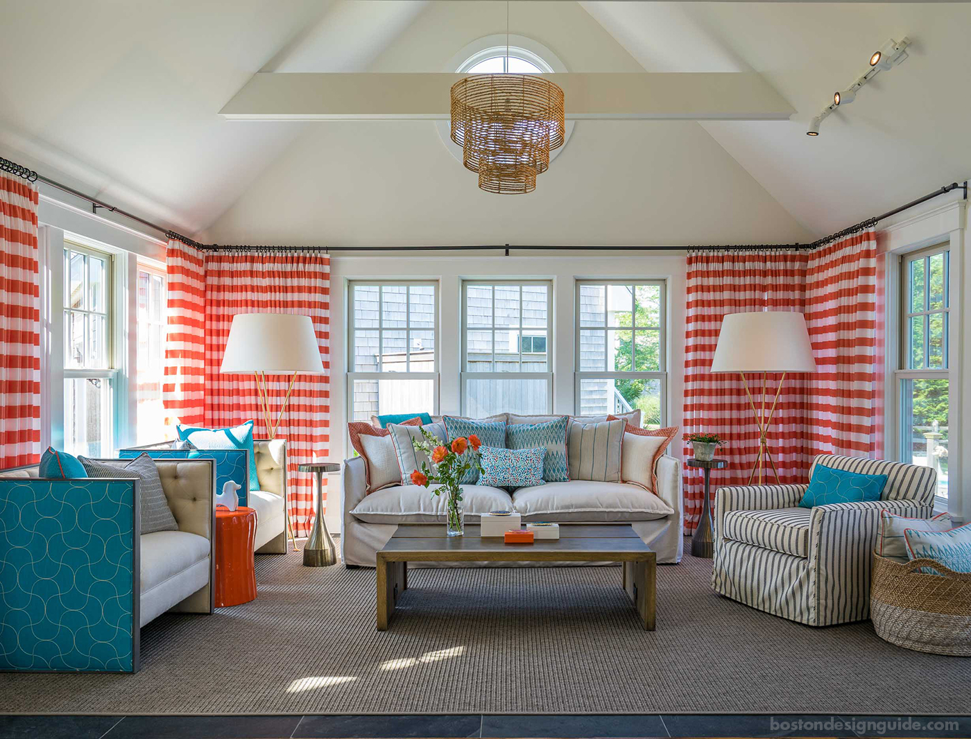 Colorful living room with rope accents by Martha's Vineyard Interior Design