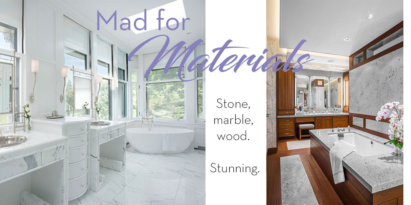 Custom master bathrooms with a stunning use of materials