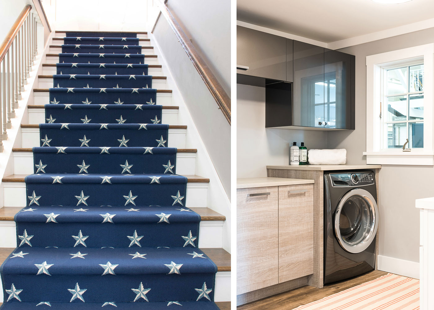 stairs with star carpeting and laundry room set up at Marine Home Center