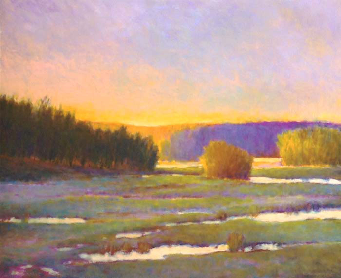 Marsh Green Gold by Ken Elliott featured at Renjeau Galleries in Natick, Mass.