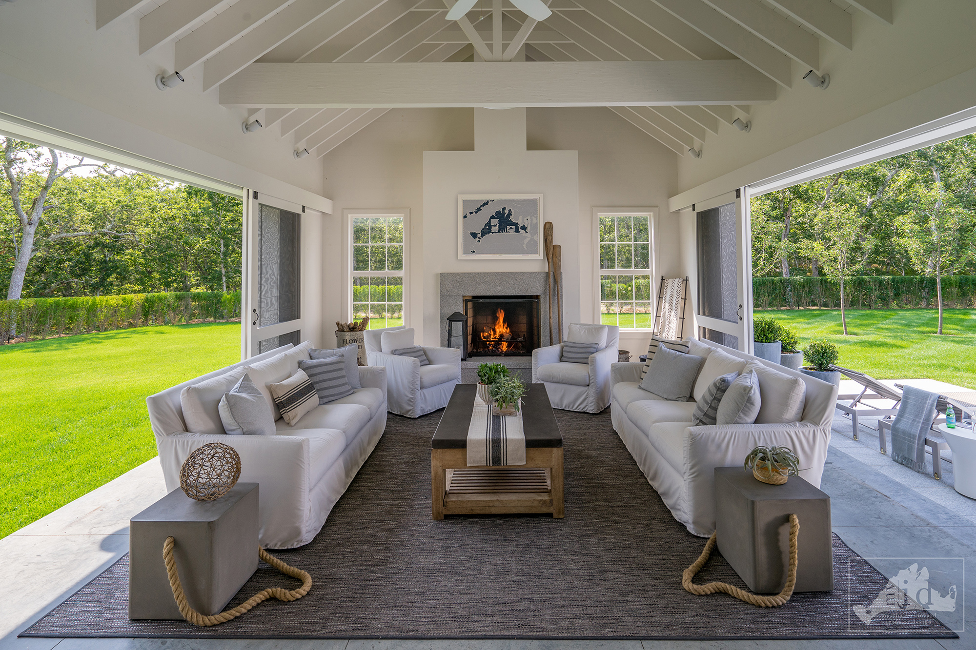 HIgh-end screened porch with fireplace