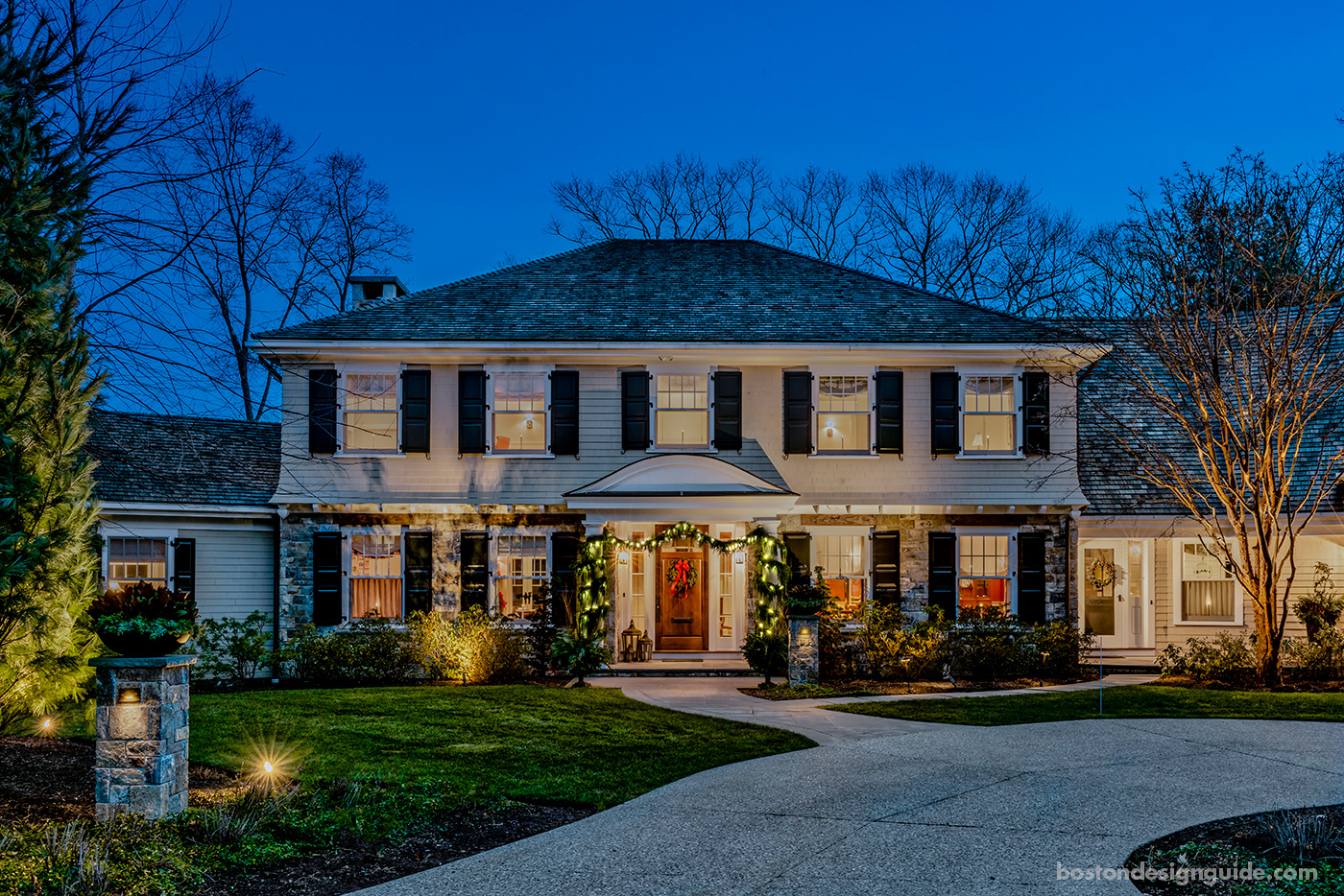 High-end holiday decorations in a New England home by R.P. Marzilli & Co.