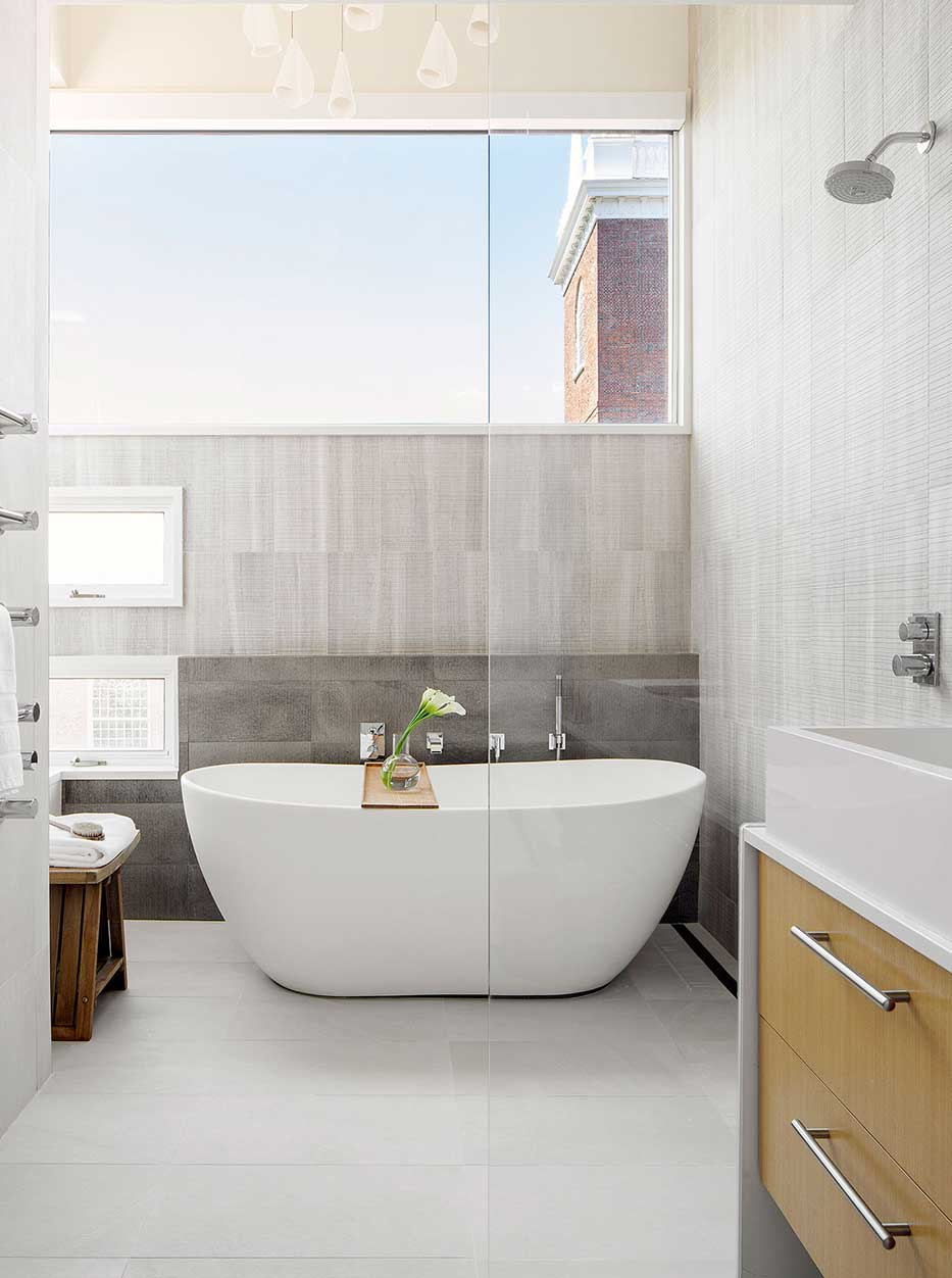 Master bathroom design by LDa Architecture & Interiors, construction by F.H. Perry Builder