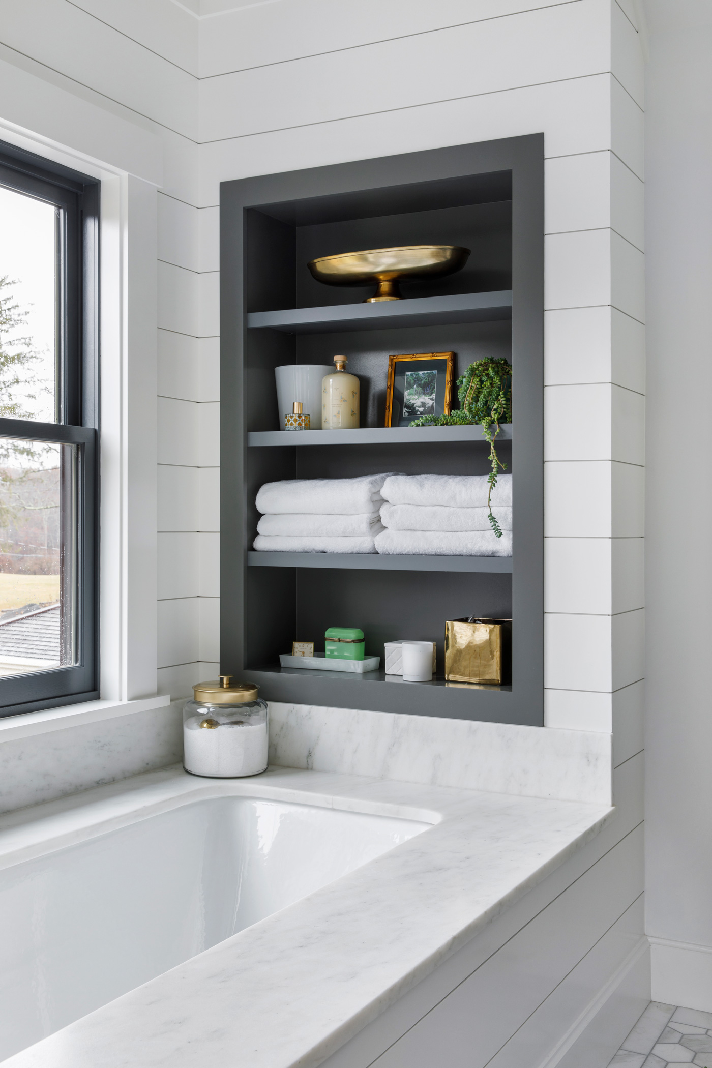built in niche above tub in newly remodeled bath