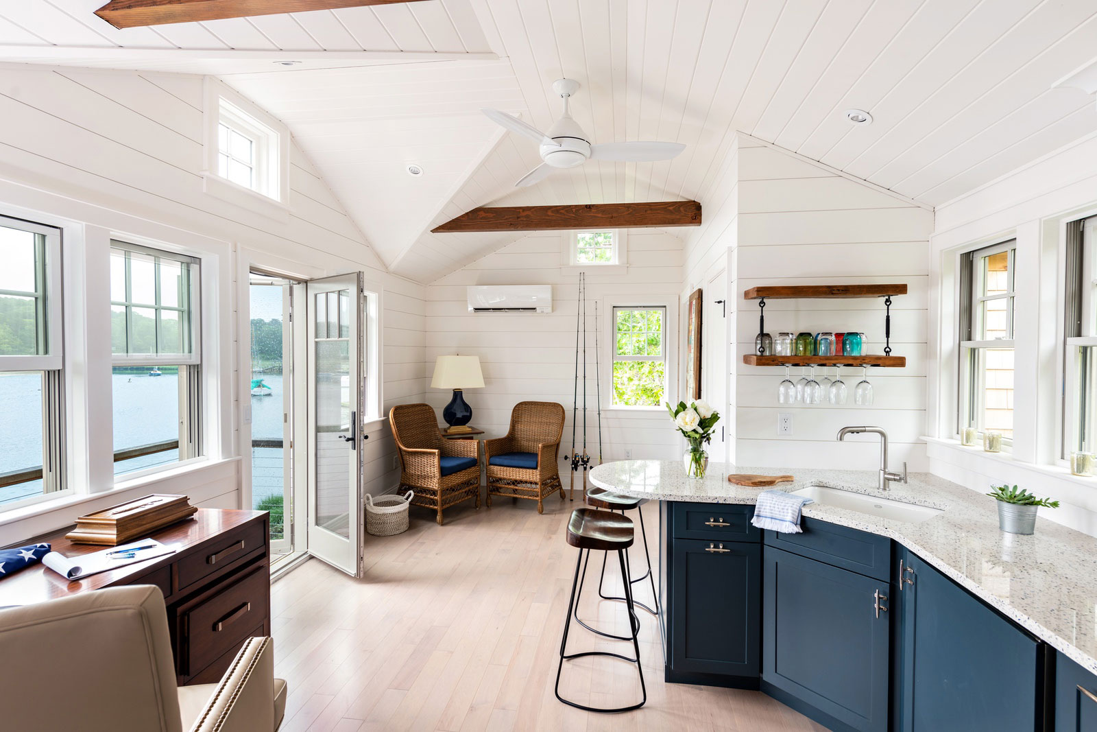 Interior of a custom Cape Cod boathouse built by McPhee Associates of Cape Cod