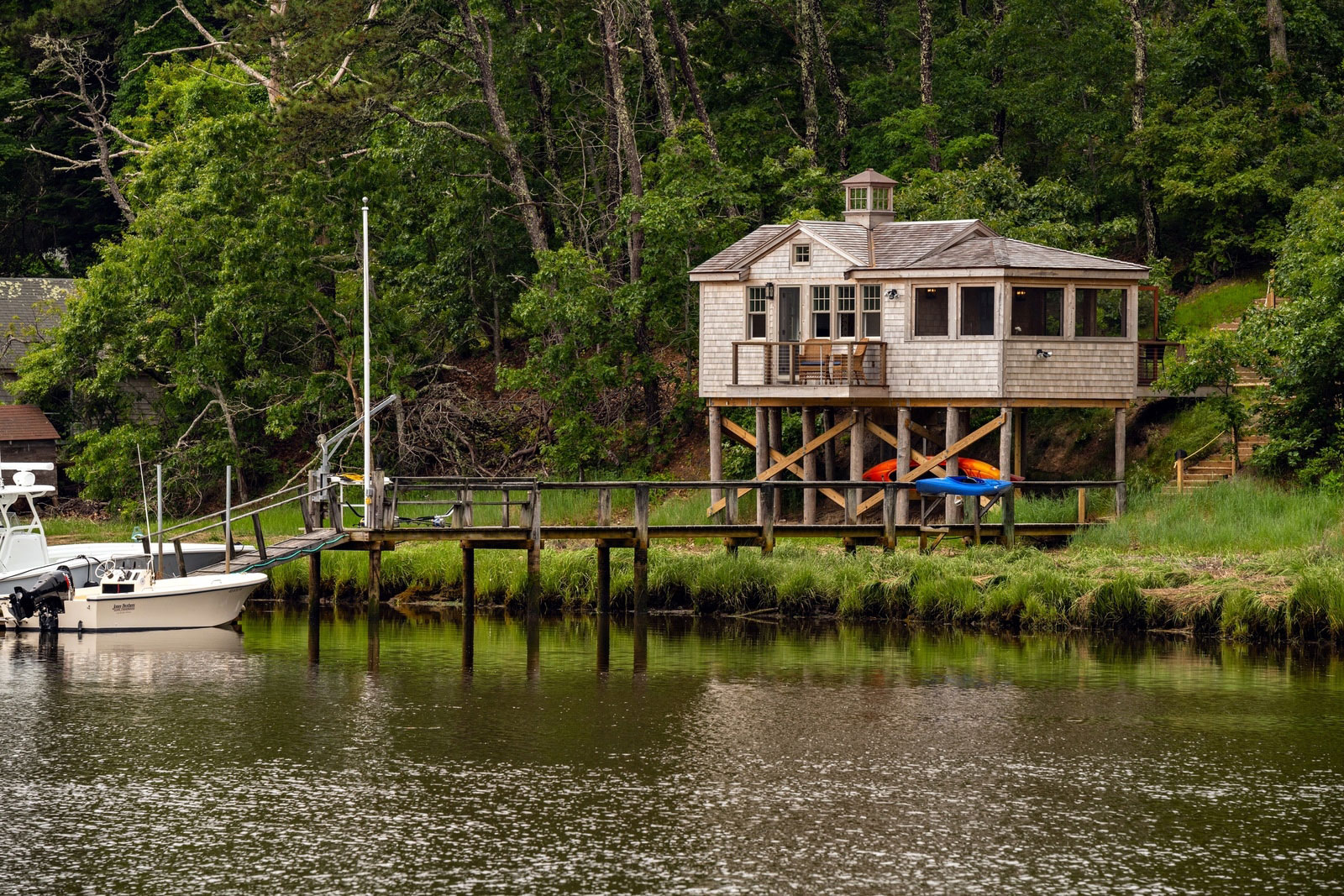 Custom Cape Cod boathouse by McPhee Associates of Cape Cod