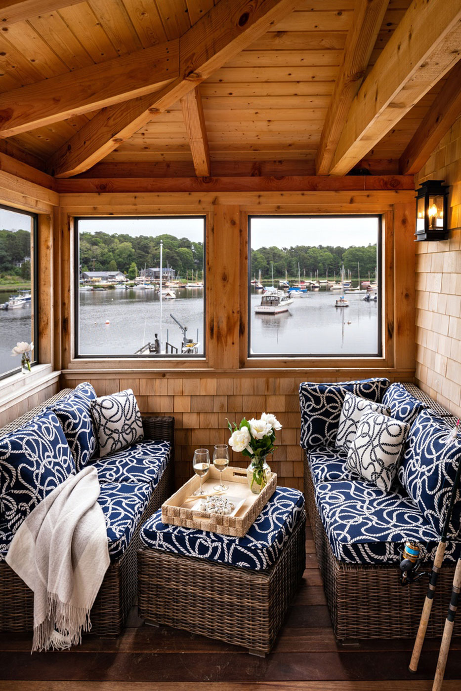Porch of a Cape Cod boathouse built by McPhee and Associates