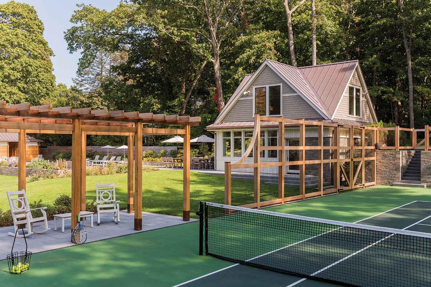 Tennis court design by Matthew Cunningham Landscape Design