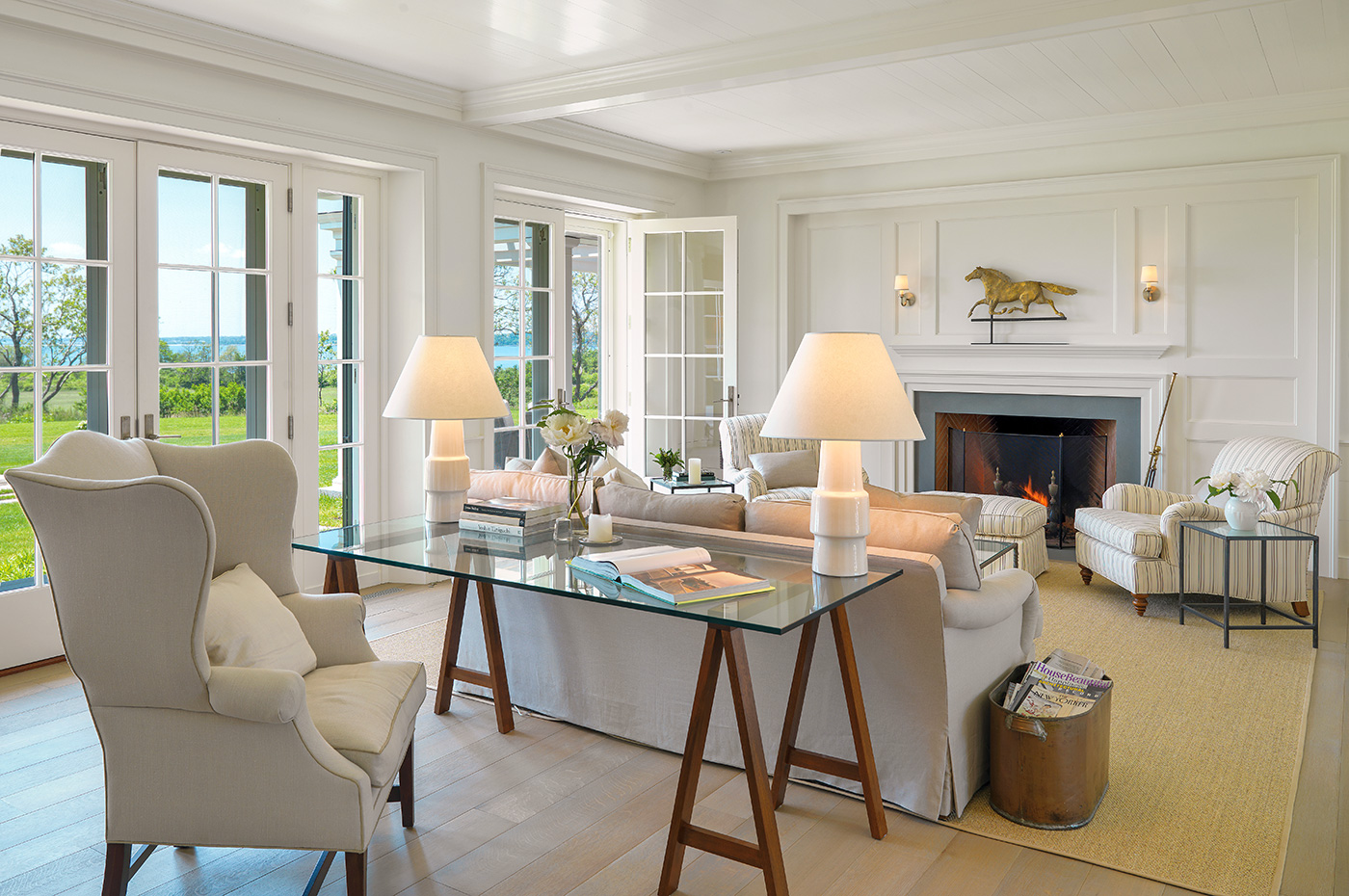Work desk in a gracious living room designed by Mellowes + Palladino Architects