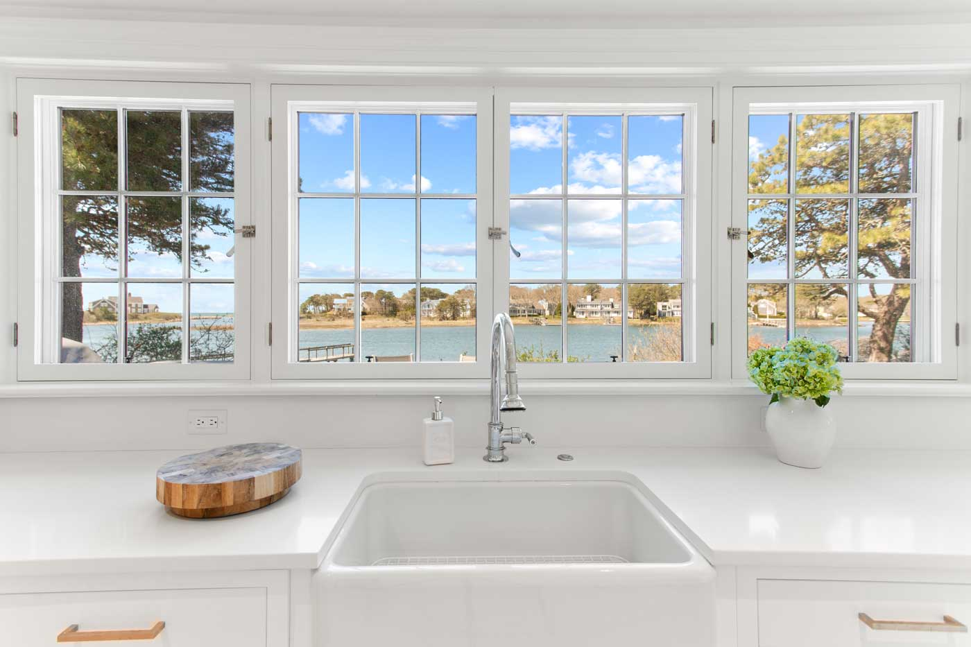 kitchen sink with view of the water