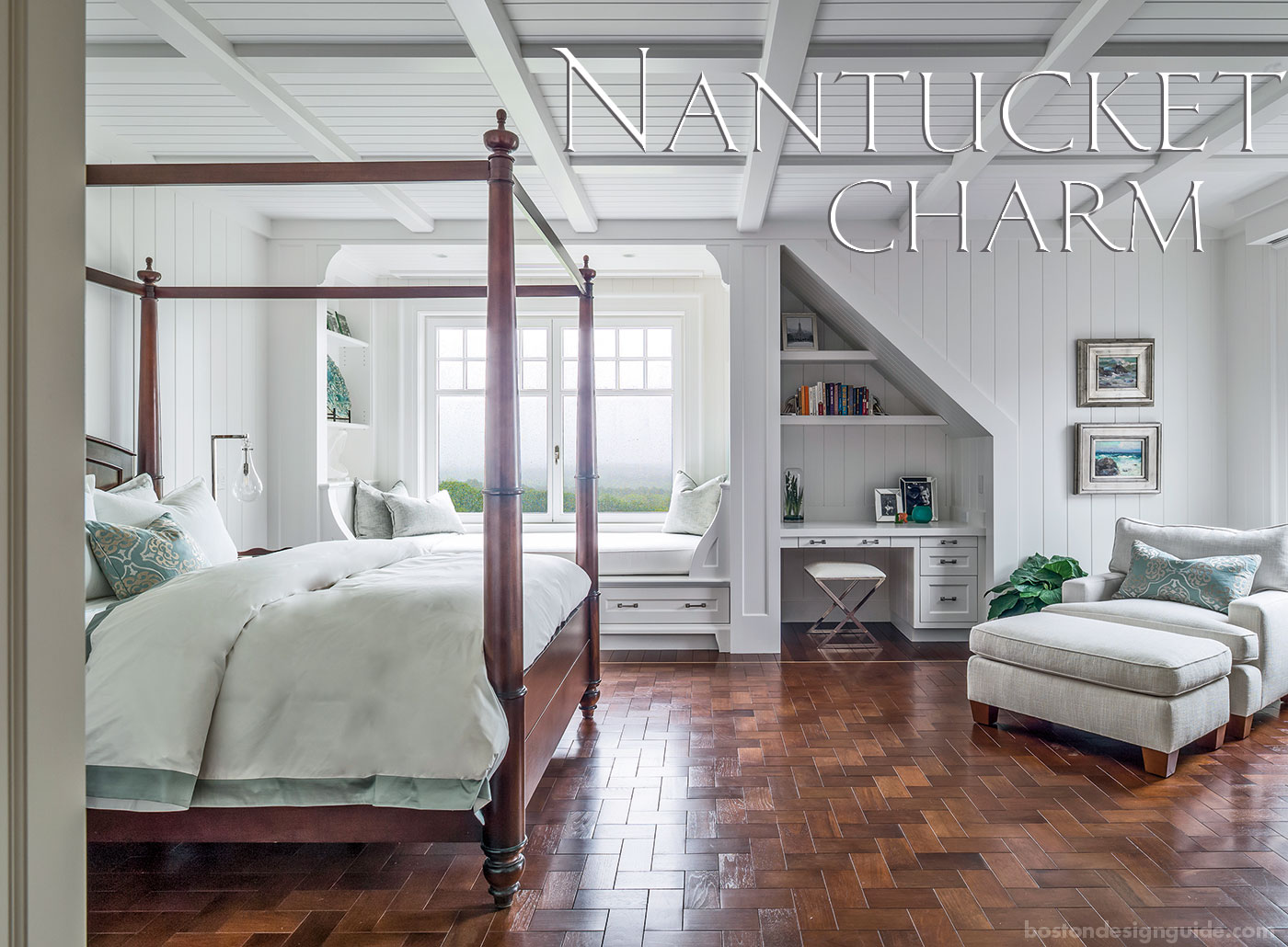 Guest bedroom with an interior design inspired by Nantucket