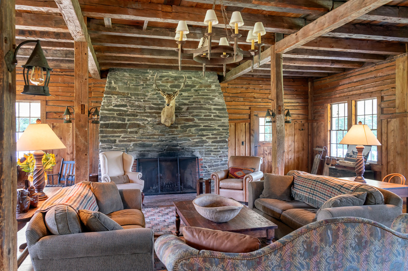 Rustic living room design by Michael Carter of Carter & Company