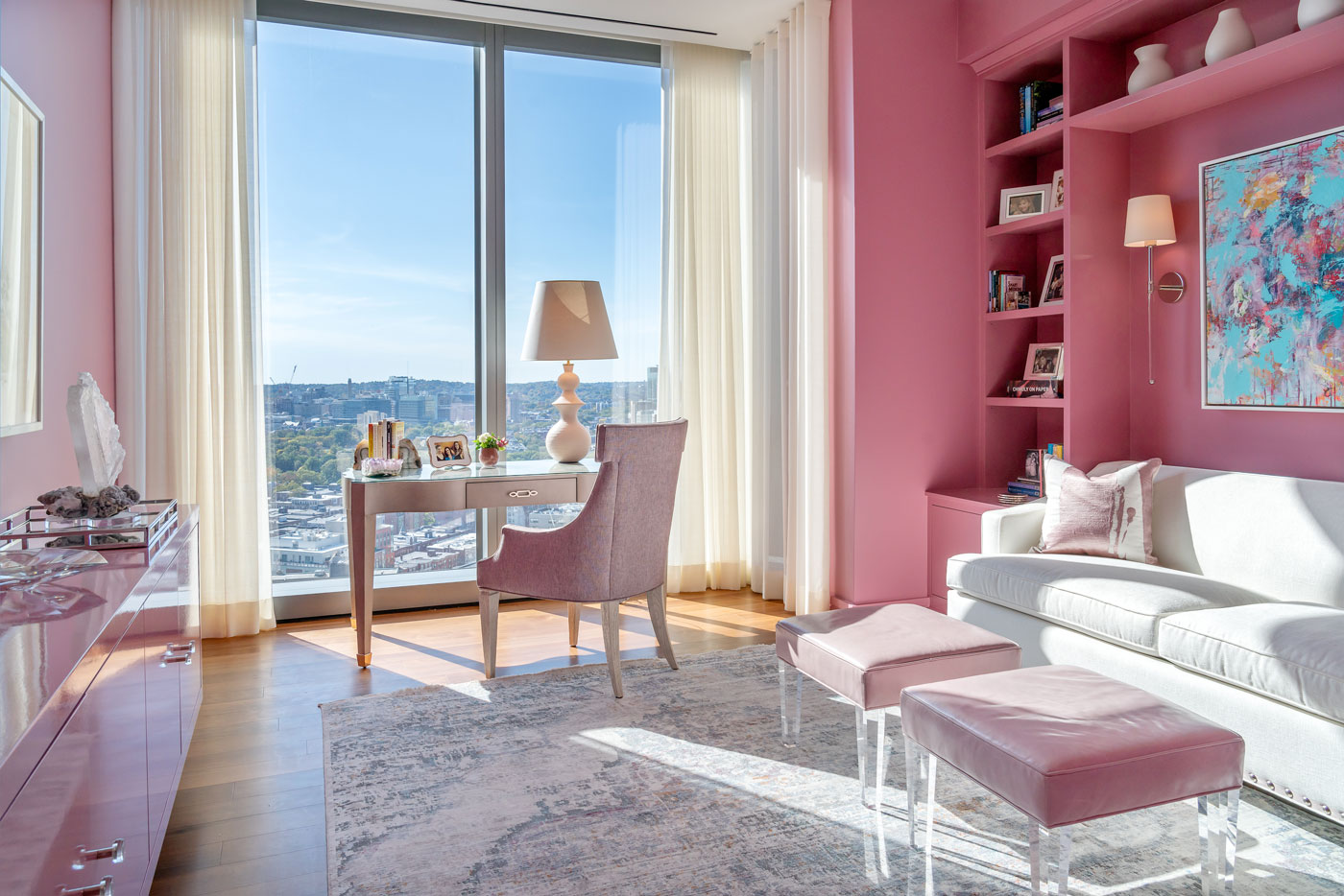 An upscale pink bedroom design by Michael Carter of Carter & Company