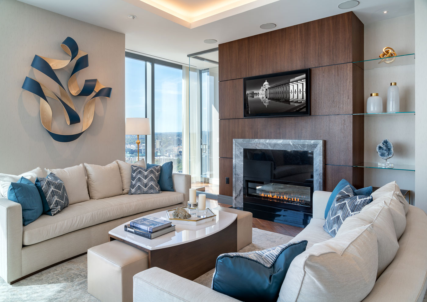 High-end living room design by interior designer Michael Carter of Carter & Company at One Dalton, Four Seasons Hotel and Private Residences