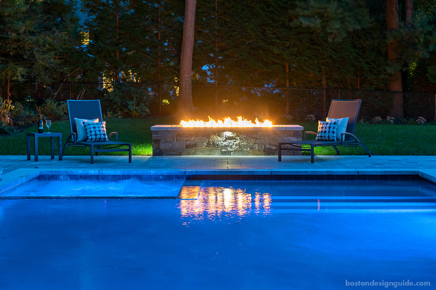 Pool terrace at night constructed by Onyx Corporation
