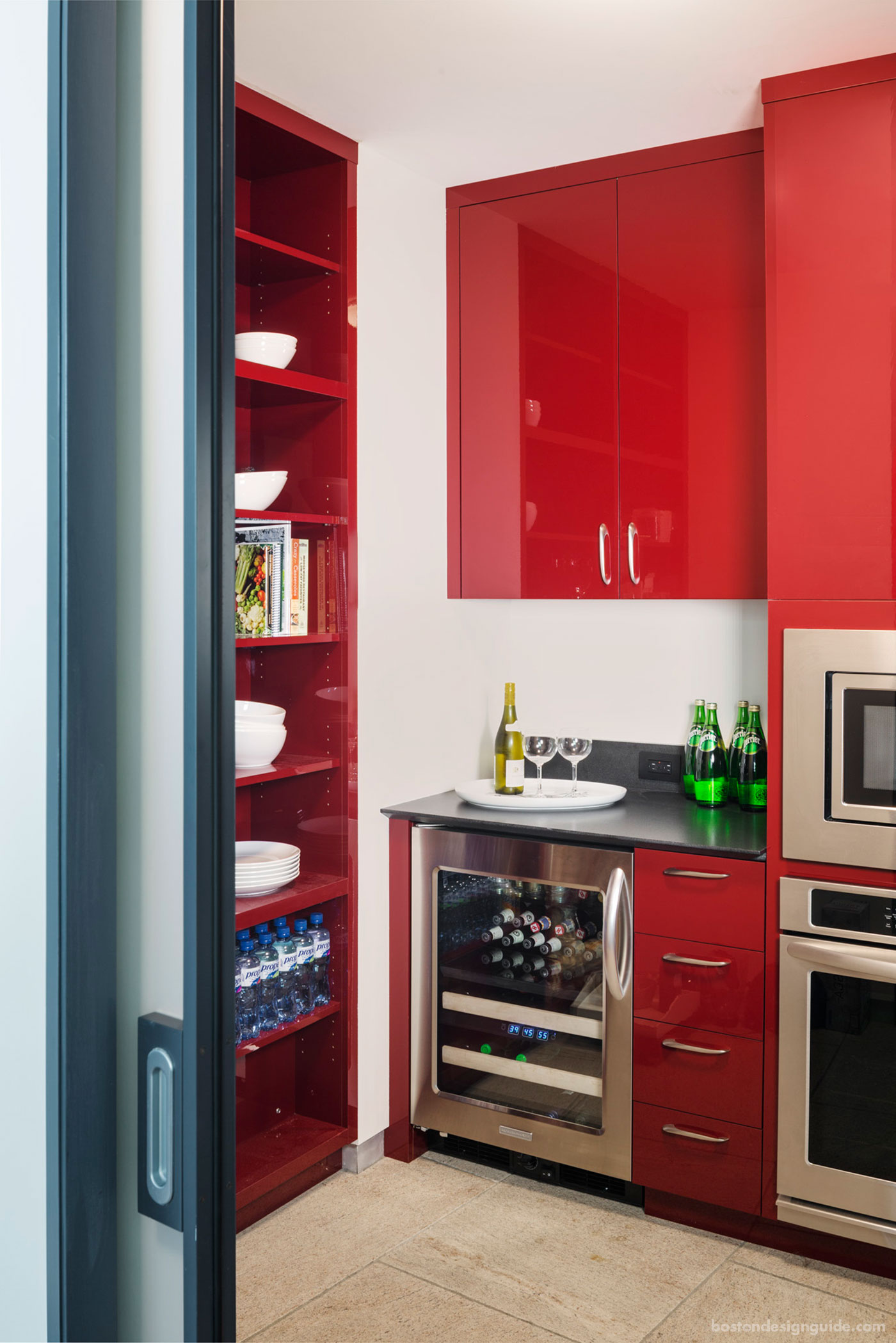 Custom red pantry by LDa Architecture & Interiors