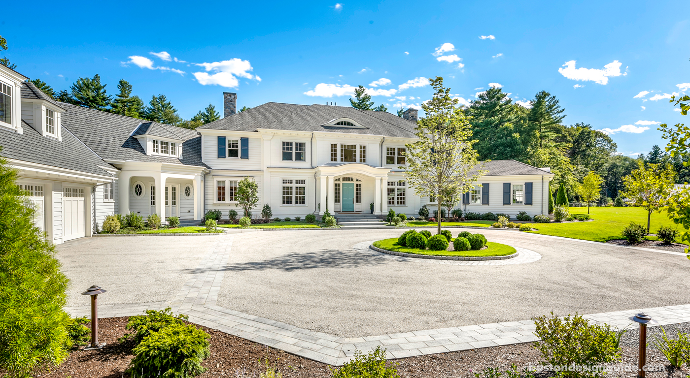 Front view of a custom colonial revival new england home