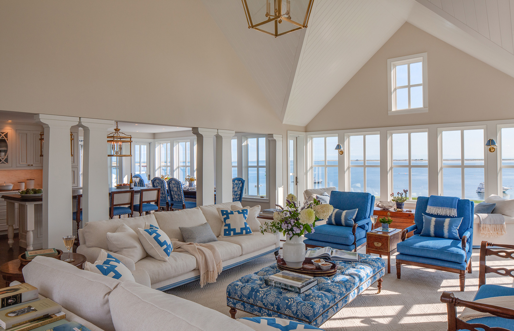 Family room overlooking the water renovated by Polhemus Savery DaSilva Architects Builders