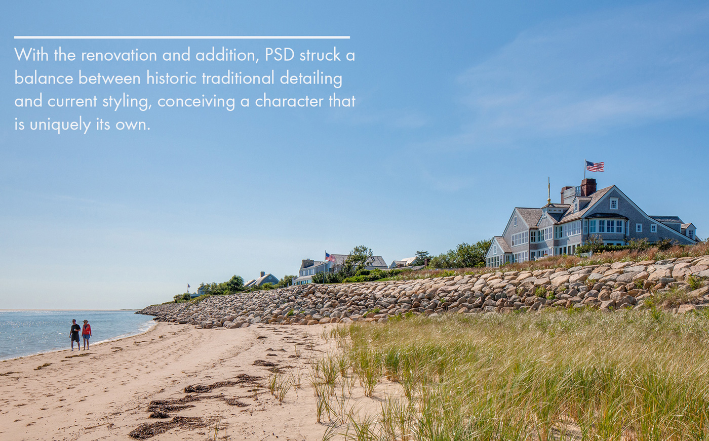 Beach side view of waterfront home on cape cod designed by Polhemus Savery DaSilva Architects Builders