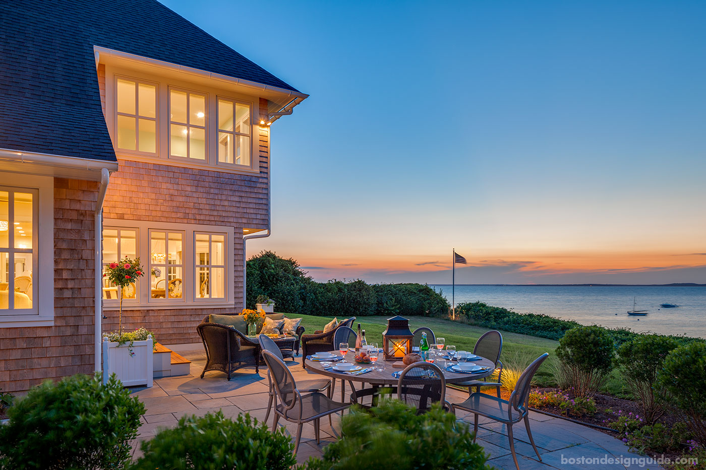 Cape Cod home with outdoor terrace by Polhemus Savery DaSilva Architects Builders PSD, photo by Brian Vanden Brink