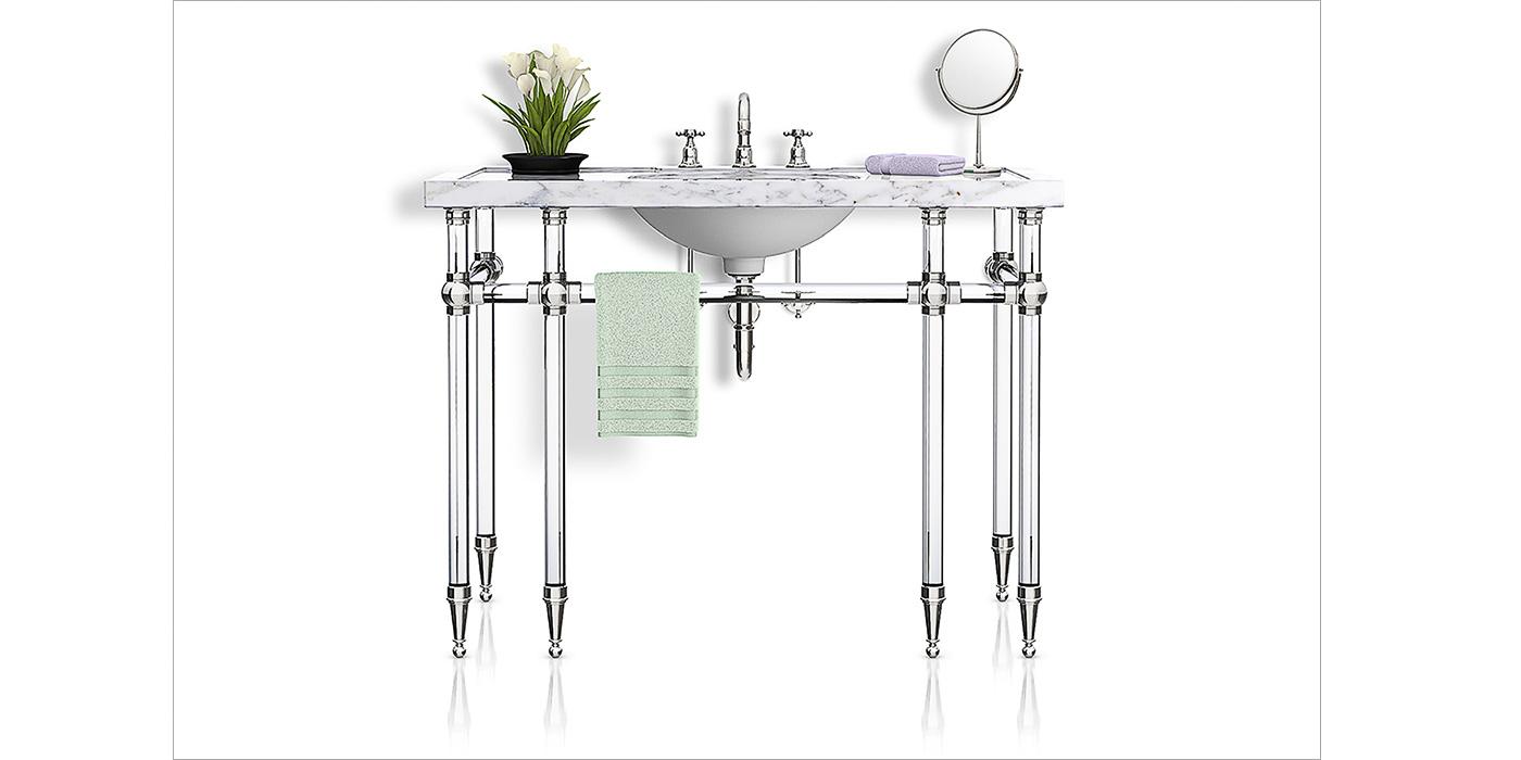 Palmer Industries custom lucite sink legs