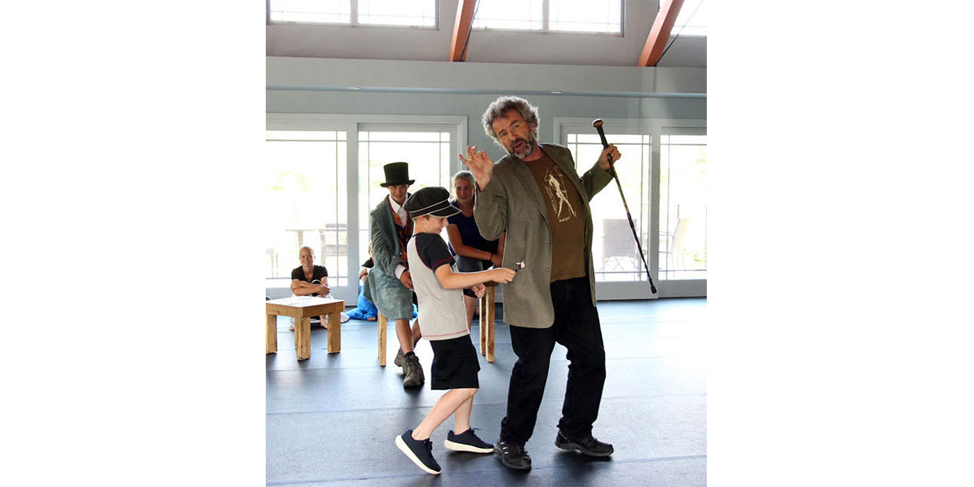 Principal Peter Haig of Architectural Design, Inc. rehearsing the role of Fagin