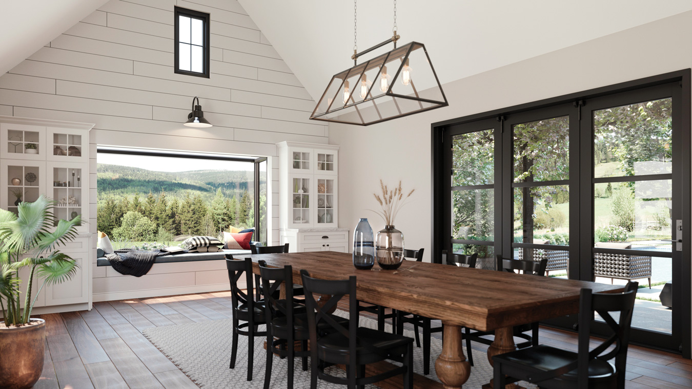 Remodeled dining area with cathedral ceilings big farm table and big scenic windows