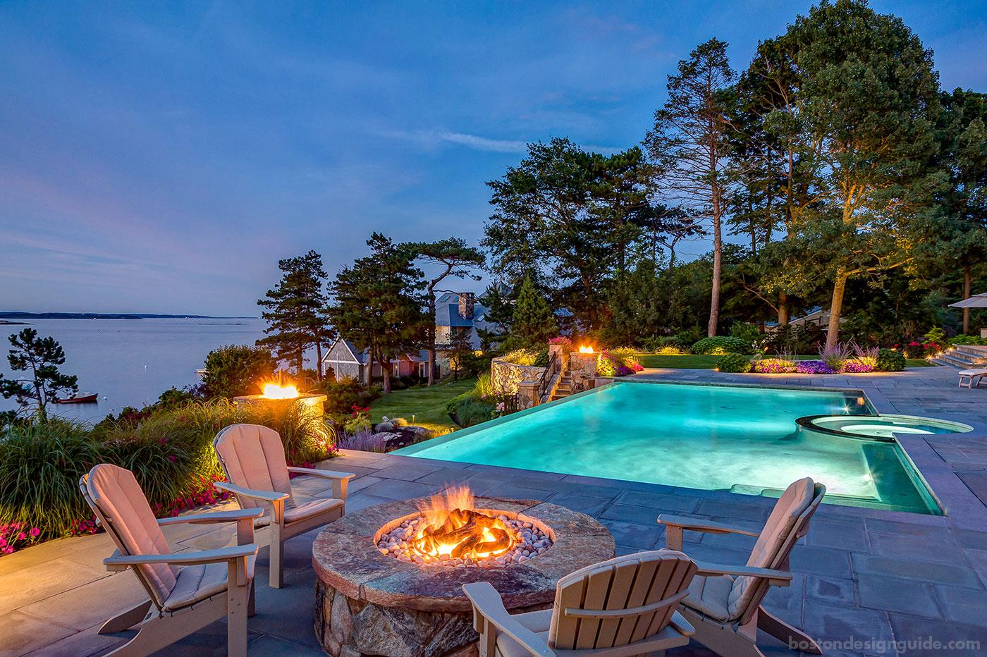 Dusk scene of coastal outdoor living by R.P. Marzilli & Company