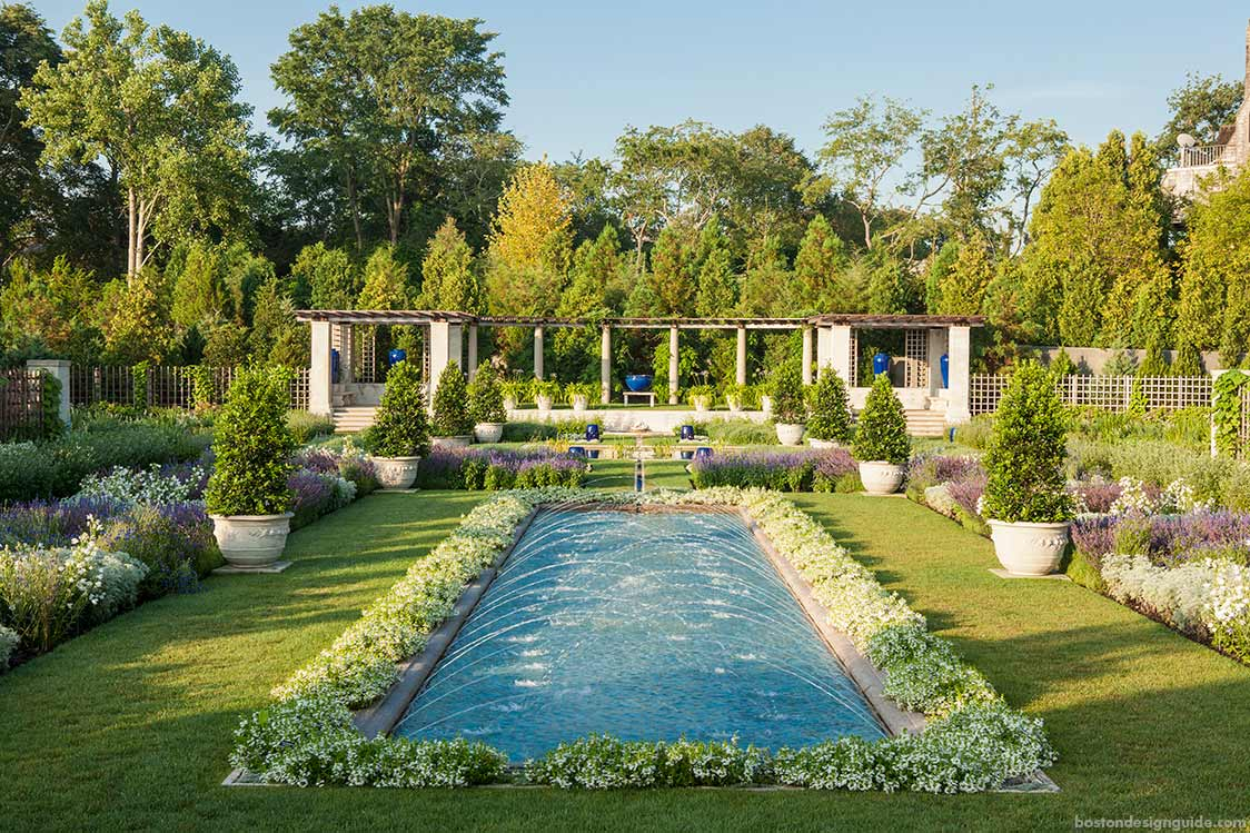 Glorious gardens the blue garden newport boston design for Landscape design ri