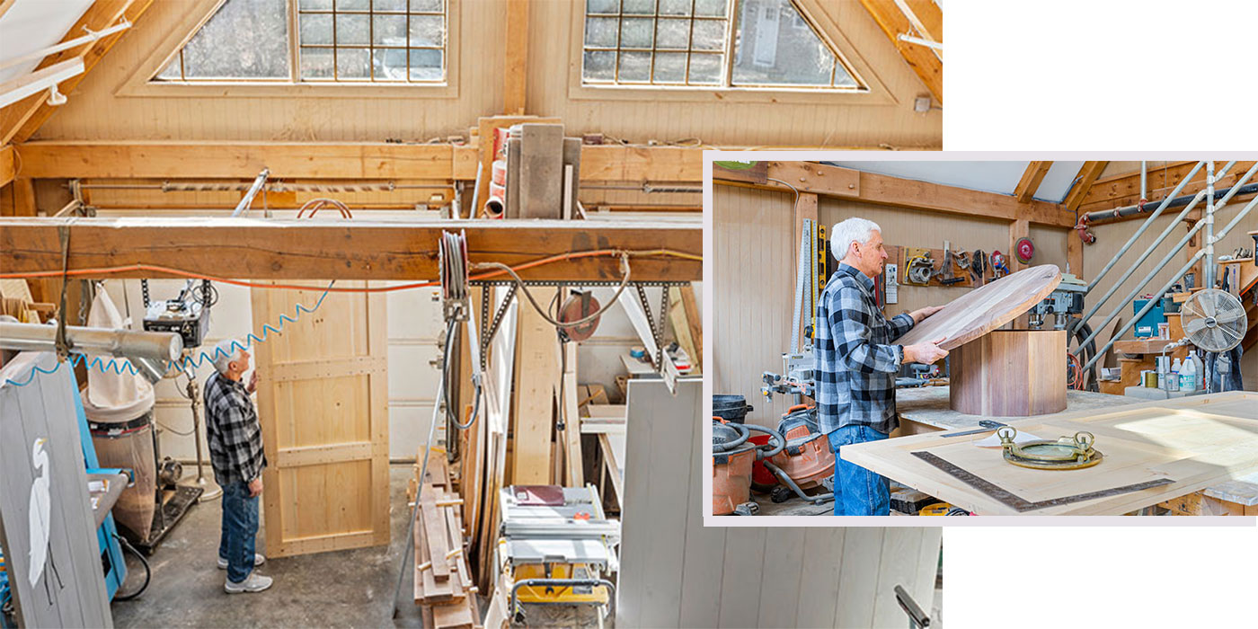 Ray Bachand of 60nobscot crafting a barn door and custom furniture