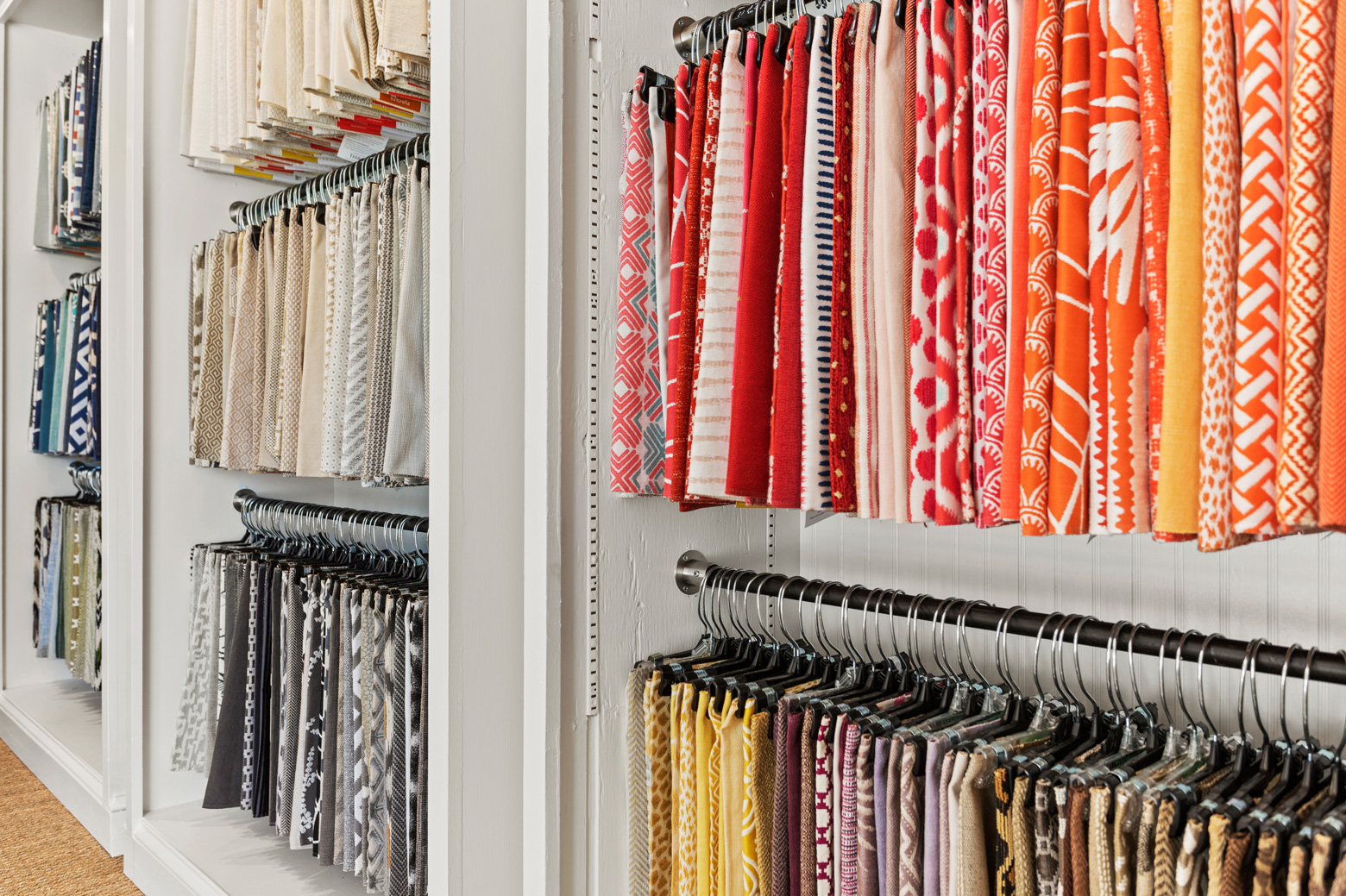 Hanging fabric swatches